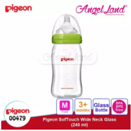 image of Pigeon Wide-Neck Nursing Bottle Glass 160ml(00478)/240ml(00479) - 240ml(00479) M teat, 3m+