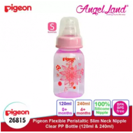 image of Pigeon Flexible Peristaltic Slim Neck Nipple Clear PP Bottle - Floral 120ml S (0 month+) 26815