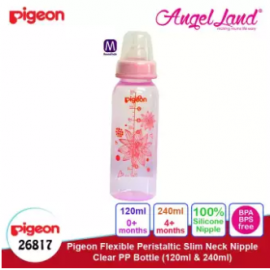 image of Pigeon Flexible Peristaltic Slim Neck Nipple Clear PP Bottle - Floral 240ml M (4 months+) 26817