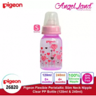 image of Pigeon Flexible Peristaltic Slim Neck Nipple Clear PP Bottle - Hearts 120ml S (0 month) 26820