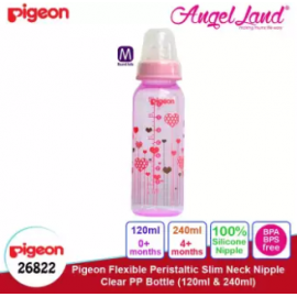 image of Pigeon Flexible Peristaltic Slim Neck Nipple Clear PP Bottle - Hearts 240ml M (4 months+) 26822