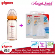 image of Pigeon Wide Neck Nursing Bottle PPSU (240ml) + 2x SofTouch Peristaltic PLUS (Size M)