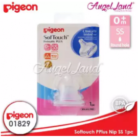 image of [Genuine] Pigeon Peristaltic Plus Wide Neck Nipple - 01829 - 0m+ (SS)