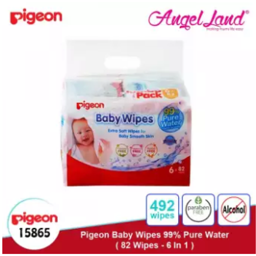Pigeon Baby Wipes 99% Water 82s (6 packs) 15865