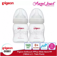 image of Pigeon SoftTouch Pplus Wide Neck PP 160ml Twin Pack - 00881