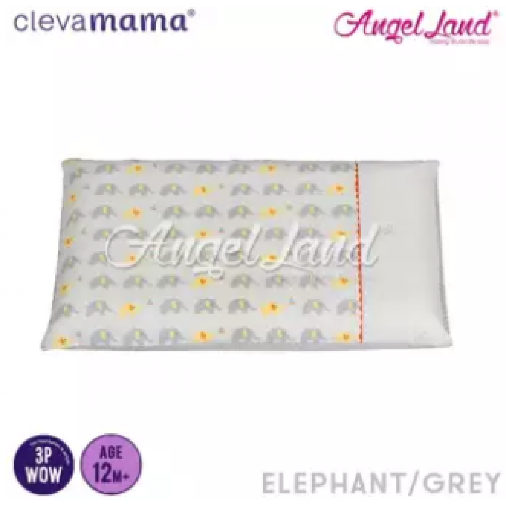 Clevamama Replacement Toddler Pillow Cover - White Elephant - CLE7818
