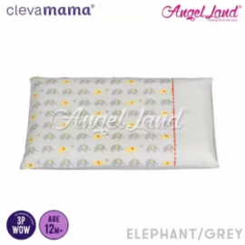 image of Clevamama Replacement Toddler Pillow Cover - White Elephant - CLE7818
