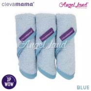 image of Clevamama Bamboo Baby Washcloth Set (3pk) -Blue - CLE3514