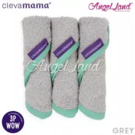 image of Clevamama Bamboo Baby Washcloth Set (3pk) -Soft Grey - CLE3515