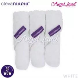 image of Clevamama Bamboo Baby Washcloth Set (3pk) -White - CLE3516