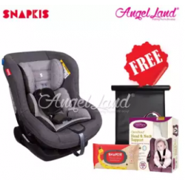 image of Snapkis Revolvefix 0-4 Car Seat Grey Melange/Black (SKS-SKS18034) + FOC Clevamama Clevahead Support + Snapkis Easikeep Sunshade + Snapkis Wipes 20pcs
