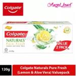 Colgate Naturals Pure Fresh (Lemon & Aloe Vera) Toothpaste Valuepack 120g x 2 [Bundle of 2]