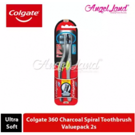 image of Colgate 360 Charcoal Toothbrush Valuepack 2s (Ultra Soft) - Charcoal Spiral