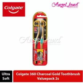 image of Colgate 360 Charcoal Toothbrush Valuepack 2s (Ultra Soft) - Charcoal Gold