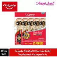 image of Colgate SlimSoft Charcoal Gold Toothbrush Valuepack (Ultra Soft) - 5s