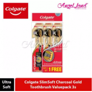 image of Colgate SlimSoft Charcoal Gold Toothbrush Valuepack (Ultra Soft) - 3s