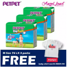 image of PetPet Daypants Mega pack (3Packs) +FOC Baby Poney Shirt -M76,L66,XL56, XXL48