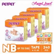 image of PETPET Tape Diaper Jumbo Packs NB60/S56/M48/L40/XL32 (4 Pack) + Free Fitti Gold Sample Diaper 4pcs