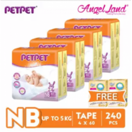 image of PETPET Tape Diaper Jumbo Packs NB60/S56/M48/L40/XL32 (4 Pack) + Free Fitti Gold Sample Diaper 4pcs