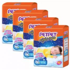 image of PETPET Night Tape Diaper Jumbo Packs S42/M40/L32/XL30  (4packs)