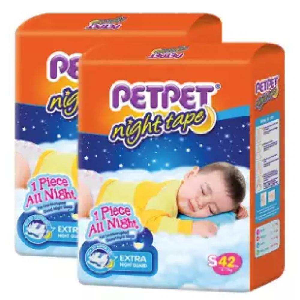 PETPET Night Tape Diaper Jumbo Packs S42/M40/L32/XL30 (2packs)
