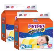 image of PETPET Night Tape Diaper Mega Packs S66 /L50/XL44  (2packs)