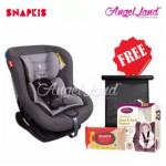 Snapkis Revolvefix 0-4 Car Seat Grey Melange/Black (SKS-SKS18034) + FOC Clevamama Clevahead Support + Snapkis Easikeep Sunshade + Snapkis Wipes 20pcs