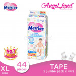 Merries Tape Diapers Jumbo Pack NB90/S82/M64/L54/XL44 (1 Pack)