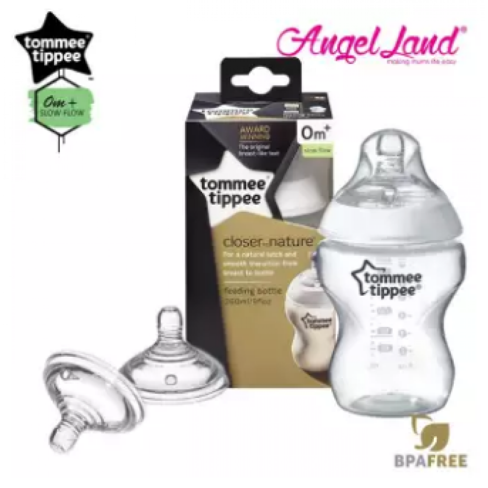 Tommee Tippee Closer To Nature PP Bottle 260ml - 421113/38 + Tommee Tippee Teat (2pcs/pack) Slow Flow Teat
