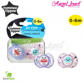 image of Tommee Tippee Closer To Nature 2pk Air Soother 0-6m With Case purple robot - pink