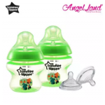 Tommee Tippee Closer to Nature Tinted Bottle 150ml (5oz) Green x2 + Tommee Tippee Closer to Nature Teat Y Flow(6m+) 422142/38