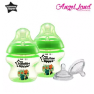 image of Tommee Tippee Closer to Nature Tinted Bottle 150ml (5oz) Green x2 + Tommee Tippee Closer to Nature Teat Vari Flow(0m+) 422140/38