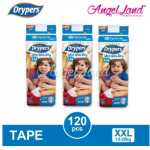 Drypers Wee Wee Dry Tape Diaper S82/M74/L62/XL50/XXL40 (3packs)