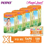 image of PETPET Tape Diaper Jumbo Packs XL32 (4 Pack) + Free Fitti Gold Sample Diaper 4pcs