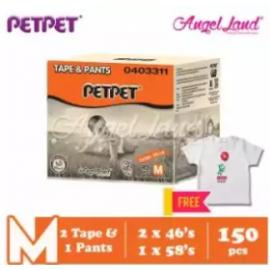image of PetPet 2x E-Mega Tape (M) + 1x Daynight Pants Diaper FOC Poney Shirt [Exclusive]