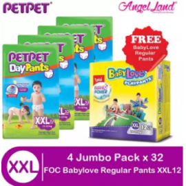 image of PETPET Daypants Jumbo XXL32 (4 Packs) + FOC Babylove Regular PlayPants M20/L16/XL14/XXL12