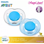 image of Philips Avent Freeflow Pacifiers 6-18m Twin Pack - SCF178/27 & SCF178/28 -Blue