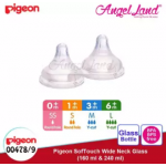 Pigeon Wide-Neck Nursing Bottle Glass 160ml(00478)/240ml(00479) - 160ml(00478) SS teat, 0m+