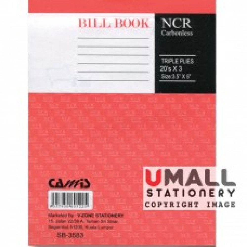 "CAMIS NCR BILL BOOK 3.5"" X 5"" (3 PLY X 20'S) SB-3583 (10 FOR)"