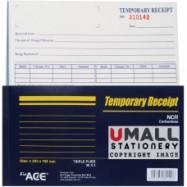 image of UNI ACE TEMPORARY RECEIPT NCR 30'S X 3 (U-8045)