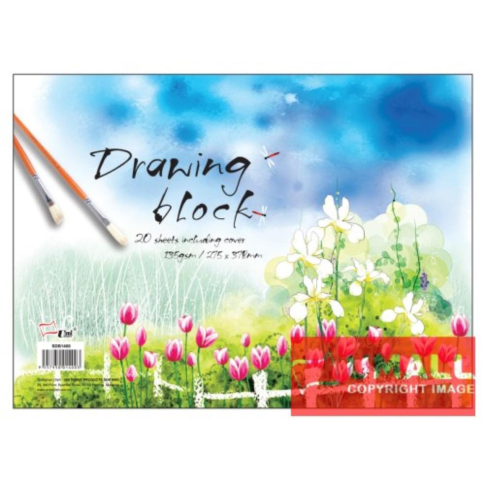 """UNI DRAWING BLOCK 135G 20'S 11"""" X 15"""" (SDB1400)"""