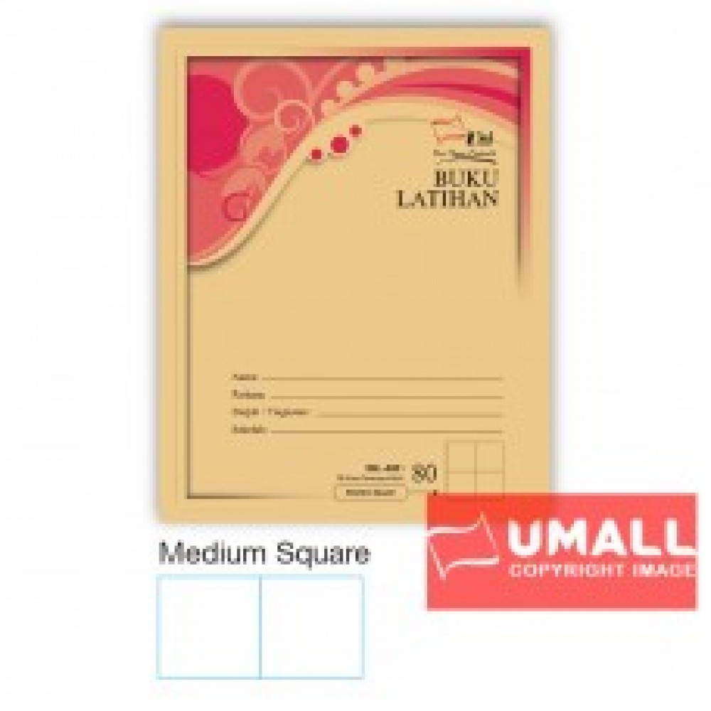UNI F5 EXERCISE BOOK (BROWN COVER) 80P - MED.SUARE (10 IN 1)