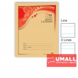 image of UNI F5 EXERCISE BOOK (BROWN COVER) 80P - SINGLE LINE (10 IN 1)