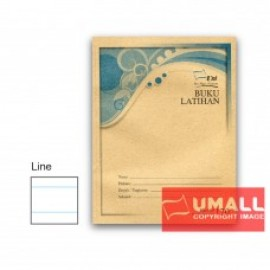 image of UNI F5 EXERCISE BOOK (BROWN COVER) 120P - SINGLE LINE ( 5 IN 1)