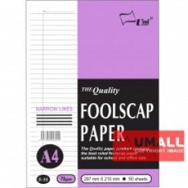 image of UNI FOOLSCAP PAPER N/L 70G A4-50'S (S35)