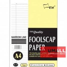 image of UNI FOOLSCAP PAPER N/L 70G A4-200'S (S-37)