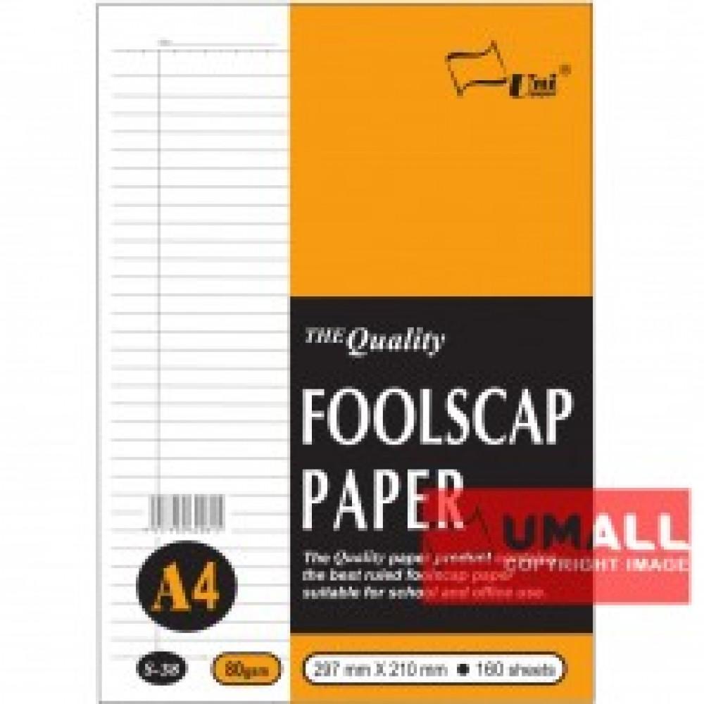 UNI FOOLSCAP PAPER 80G A4-160'S (S-38)