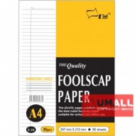 image of UNI FOOLSCAP PAPER N/L 80G A4-80'S (S38)