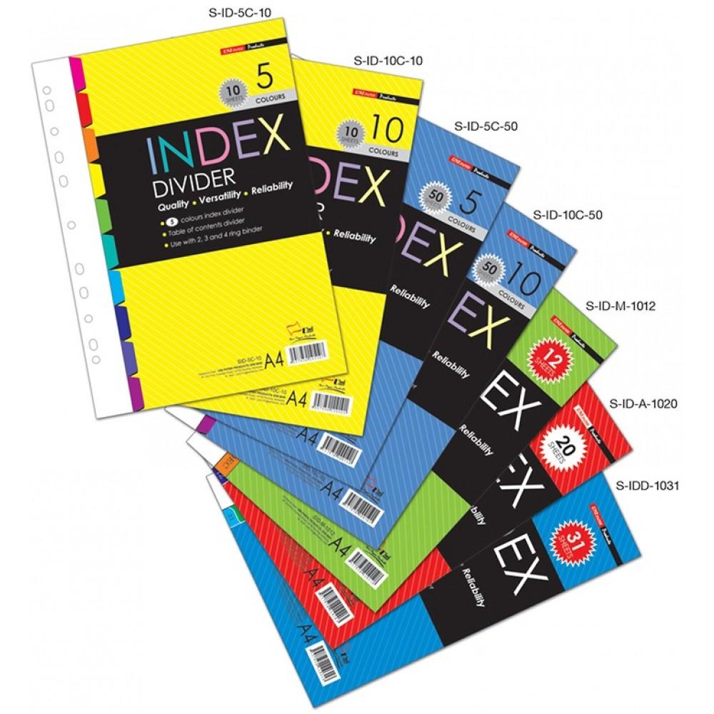 Uni Paper A4 Index Divider 10 Colors 10 Sheets S-ID-10C-10 (2 SETS)