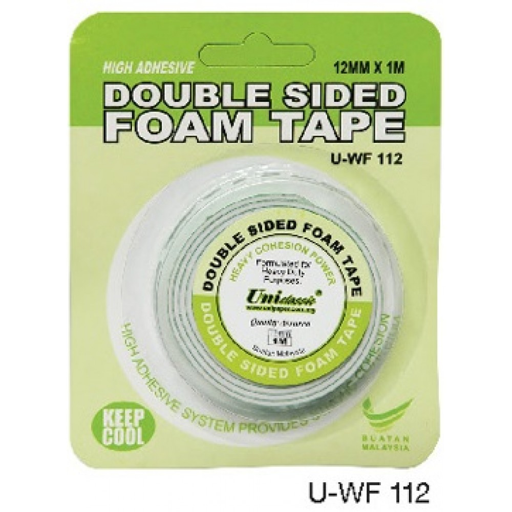 Uni Paper 12mm x 1m Classic Double Side Foam Tape (2 FOR)